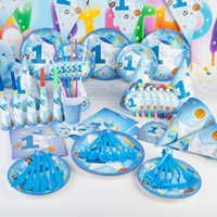 sport pennants - 90 Blue Sports Boy Theme Wedding Birthday Party Decoration Disposable Tableware Set Fork Spoon Straw Pennant Blowout