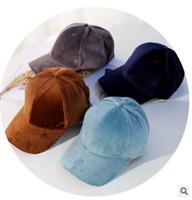 kahverengi şapka toptan satış-2017 kış cilt leath snapback şapkalar kış beyzbol şapkası kadife düz şapkalar hip-hop kap ücretsiz kargo kahverengi