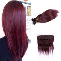 düz kırmızı saç uzantıları toptan satış-Sıcak Satış Perulu Saç Uzantıları # 99J Bordo Kırmızı Koyu Şarap İpeksi Düz Dokuma Paketler 3 adetgrup ile 99J Dantel Frontal