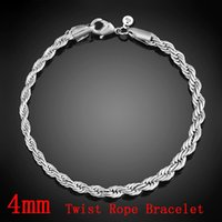 Wholesale Murano Charms Sale - Top Sale 4mm 925 Sterling Silver Fashion Rope Chain Women Men Party Bracelet European Charms Bracelets Fit Murano Glasses Beads