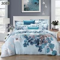 Wholesale Natural Silk Comforter Bedding Set - 2017 new 100% natural Tencel silk blue pink leaves Spring summer 4pcs bedding set bed linen comforter cover bed sheet set 3089