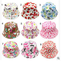 Wholesale Colorful Bucket Hats - 2016 Baby Floral Printed Flower Hat Girls Cap Infant Sun Hat Colorful Baby Bucket Hats Canvas Children Beanie Sunbonnet Outdoor Hat Cap