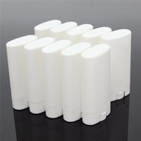 ingrosso tubo rossetto bianco-1000 pezzi 15g di plastica vuoti fai da te ovale balsamo per le labbra tubi portatili deodoranti contenitori chiaro bianco rossetto moda fresco lip tubi