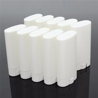 Wholesale white plastic containers wholesale - 1000pcs 15g Plastic Empty DIY Oval Lip Balm Tubes Portable Deodorant Containers Clear White Lipstick Fashion Cool Lip Tubes