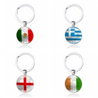 Wholesale Metal Bag Flag - National Flag Fashion Keychains Glass Cabochon Car Key Bag World Cup Football Countries Flags Keyrings Key Rings Jewelry Gifts Accessories