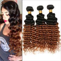 Wholesale dark auburn wavy hair extensions - Deep Wave Virgin Brazilian #1B 30 Dark Root Ombre Human Hair Extensions Deep Wavy Medium Auburn Ombre Human Hair Weave Bundles 3Pcs Lot