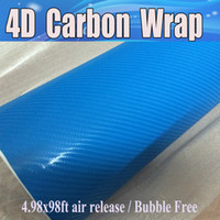 голубое небо углеродного волокна винил оптовых-Небо синий 4D углеродного волокна винил как реалистичные волокно Карбоновая пленка для автомобиля пленки Wrap с пузырьков воздуха на кожу 1.52x30m 4.98x98ft