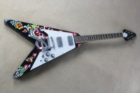 Wholesale Newest Mahogany Electric Guitar - Wholesale newest High Quality Jimi Hendrix Psychedelic 1967 Flying V Electric Guitar Free shipping -625