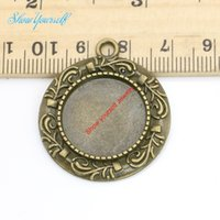 Wholesale Flower Frames For Photos - 8pcs Antique Silver Bronze Plated Flower Photo Frame Charms Pendants for Necklace Jewelry Making DIY Handmade Craft 19mm