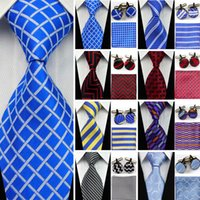Wholesale Silk Ties Cufflinks - Suit Necktie Ties for Men Gravatas Mens Accessories Wide Silk Tie Set Geometric Plaid Business Hanky Handkerchief Cufflinks SNT