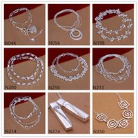 Wholesale Sterling Silver Spiral Chain - Grid spiral shape 925 silver Necklace 6 pieces a lot mixed style,brand new women's gemstone sterling silver Necklace EMP52