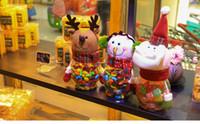 şeker kavanozu dekorasyonu toptan satış-Noel süslemeleri yaratıcı hediye Plastik şeker kavanoz kurabiye kutusu El kutusu ile Noel Baba kardan adam yavrusu fawn