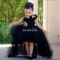 Wholesale Blue High Low Skirt - Cute Black High Low 2017 Ball Gown Flower Girls Dresses With Gold Sequined Flowers Jewel sleeveless Tulle Tiered Skirts Communion Dresses