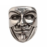 Wholesale Wholesale Guys Jewelry - Wholesale- New Arrivals Guy Fawkes Mask Rings Vintage Movie Jewelry V for Vendetta Rings Anonymous Chunky Biker Ring Men Women Jewelry