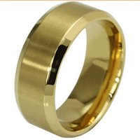 Wholesale Plain Gold Wedding Bands - 8MM 18K Gold Plated Stainless Steel Ring Band Size 7-15 Wedding Engagement Cocktail Classical Plain Graduation Fathers Day Gifts