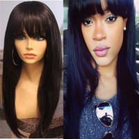 Wholesale real human hair wigs for sale - Brazilian Real Human Hair Silky Straight With Bangs Full Lace Wig Lace Front Wig Density in stock