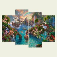 Wholesale Textured Unframed Wall Art - (No frame) Peter pan series HD Canvas print 4 pcs Wall Art Oil Painting Textured Abstract Pictures Decor Living Room Decoration