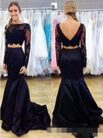 Wholesale Long Formal Lace Dresse - Navy Blue Mermaid Two Piece Prom Dresse With Long Sleeves Sexy Open Back Teens Formal Evening Wear Party Gowns Lace Satin Dress