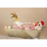 ingrosso abbigliamento per bambini-Super adorabile stile animale Crochet Knit Baby Hens Costume Neonato Puntelli Foto Studio Spara Abiti Baby Photo Clothes Set JC012