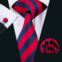 Wholesale wool strips - Red Mens Neckties Classic Silk Tie Sets Strips Mens Ties Tie Hanky Cufflinks Jacquard Woven Meeting Business Wedding Party N-1575