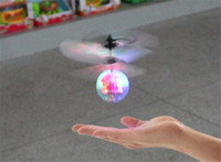 Wholesale infrared ufo toy resale online - Easy Operation Vehicle Flying RC Flying Ball Infrared Sense Induction Mini Aircraft Flashing Light Remote Control UFO Toys for Kids New