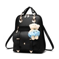 Wholesale Korean Book Bags - 50pcs lot Women Preppy PU Leather School Bag Backpack for Teenager Girl Book Bag with Bear