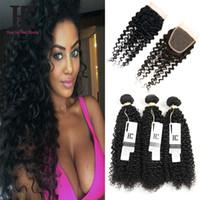 Wholesale Curly Virgin Hair Bundle Deals - Indian Virgin Curly Hair With Closure 100% Human Hair With Closure Grade 7A Indian Curly Hair Bundle Deals With Lace Closure