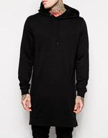 черные платья оптовых-Wholesale-2016 dresses men black Long line hip hop long hoodies long style Sweatshirts side zipper us size