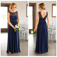 Wholesale V Neck Jewel Blue - 2017 Navy Blue Lace Top A-Line Bridesmaid Dress For Weddings Jewel Neck Floor Length Plus Size Formal Maid of Honor Gowns V-Shape Back