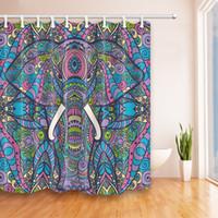 12 hooks Shower Curtain Art Bath Decor Elephant Sitting on the Toilet Design