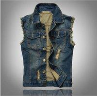 Wholesale Mens Sh - New Fashion Mens Denim Vest Vintage Sleeveless washed jeans waistcoat Man Cowboy ripped Jacket Plus Size 6XL Tank Top hight quality free sh