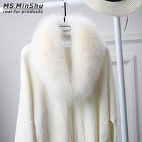peles de pele de raposa venda por atacado-Genuine Fox Fur Cachecol Para As Mulheres Inverno Natural Fox Collar Da Pele Destacável Fox Fur Pescoço Quente Moda Xale De Pele femaleMs.MinShu