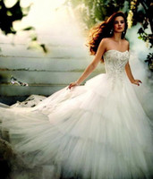 Wholesale Dreamy Castle - Dreamy 2015 Cinderella A-Line Wedding Dresses Strapless Crystal Beaded Lace Appliques Vintage Princess Tiered Tulle Bridal Gowns Custom