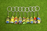 Wholesale Despicable Keyrings - 3D Cartoon Minions Toy Key Ring Despicable Me Mini Minion Keychains Doll Kids Toys LED Light Voice Keyring Men Trinkets Charms