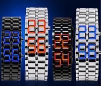 montres à led de lave achat en gros de-2016 Hot vente Top classique LED lave montres étudiants guerriers de fer chaînes montres montres amateurs de mode montres volcan montres de sport montre 8A107