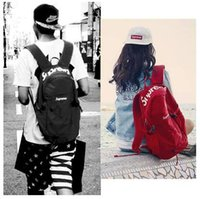 Wholesale Harajuku Zipper - Superme fashion backpack male female Nylon Backpack skateboard Harajuku wind travel bag of male and female students