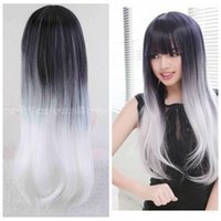 Wholesale wig silver white long - Free Shipping>>>Black+Silver White Wig Long Straight Wavy Hair Cosplay Anime Full Wig
