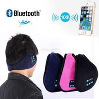 Wholesale leather earmuffs for sale - Group buy Wireless Bluetooth Earmuffs Music Headset Stereo Headphone Winter Warm Leather Earmuff Speaker Colors OOA3095