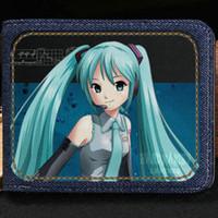 Wholesale Hatsune Miku Purse - Hatsune Miku wallet Singer girl purse Virtual cartoon short cash note case Money notecase Leather burse bag Card holders