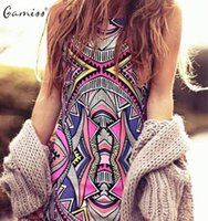 Gamiss 2017 Summer Style Women Новая мода Vintage Geometric Print Mini Boho Dress Sexy Casual Party Beach Dresses Plus Размер