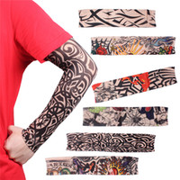 tattoo arm ärmel groihandel-Radfahren Fahrrad Tattoo Armlinge Manschette Ärmel Cover UV Sonnenschutz Dropshi Sun UV-Schutz Armwarmer Stocking Stretchable Sleeves
