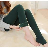 Wholesale Thermal Leggings Wholesale - Wholesale-2016 New Women Winter Thick Warm Fleece Lined Thermal Stretchy Leggings Pants Fast Shipping Jimshop