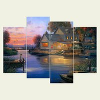 Wholesale Modern Textured Canvas Oil Painting - (No frame) Modern art painting series HD Canvas print 4 pcs Wall Art Oil Painting Textured Abstract Pictures Decor Living Room Decoration