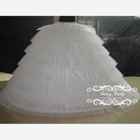 Wholesale Long Dress Petticoat - Super Big 2018 Tiered Puffy Ball Gown 6 Hoops Petticoats White Tulle Long Slip Crinoline Underskirts For Wedding Prom Quinceanera Dresses