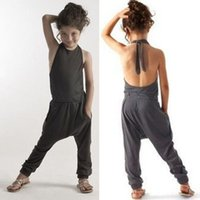 Wholesale Sexy Backless Outfit - Girls Casual Sling Clothing Sets romper baby sexy backless jumpsuit cargo pants bodysuits kids clothing children Outfit rompers D075