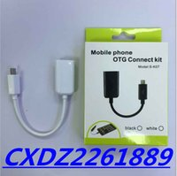 Wholesale Otg Connection - 10cm MICRO v8 android USB OTG smart connection kit for cell phone SAMSUNG HTC HUAWEI SONY black and white color with green box