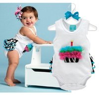 neue ankunftsbabyausstattung großhandel-Sleeveless Ausstattungs-Spielanzug des Baby-1. Geburtstags-Tagesparty-Baumwolle Onepiece Overall für 24M neue Ankunft
