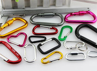 Wholesale color carabiner hook resale online - 7 color B D Ring Carabiner Ring Keyrings Key Chain Camp Snap Clip Hook Keychains Hiking Aluminum Metal Stainless Steel Hiking Camping