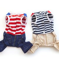 Wholesale free patterns dog clothes - New 100Pcs Lot Spring Summer Fashion Pet Dog Jumpsuit Stripe Pattern Navy Sailor Style Pet Coat Dog Clothes Small Medium Pets Free Shipping