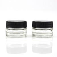 kräutergläser großhandel-Nahrungsmittelgrad-Antihaft 5ml Glas-Glas-ausgeglichenes Glas-Behälter-Wachs-Tupfen-Glas-trockener Kraut-Behälter mit schwarzem Deckel GEGEN 6ml Glas-Glas DHL